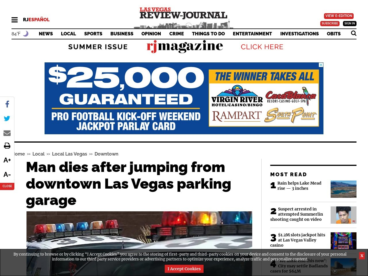 Man dies after jumping from downtown Las Vegas parking garage