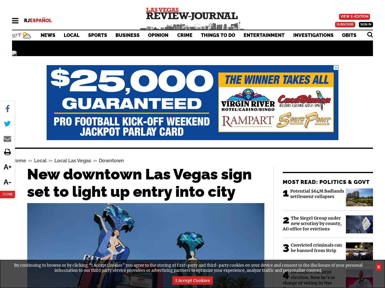 New downtown Las Vegas sign set to light up entry into city