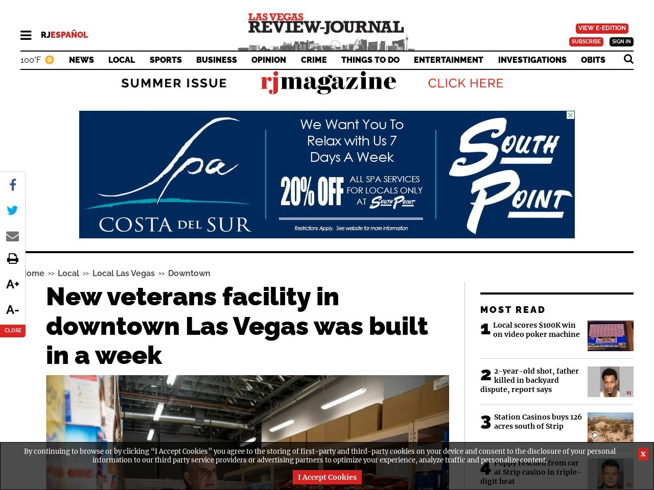 New veterans facility in downtown Las Vegas was built in a week