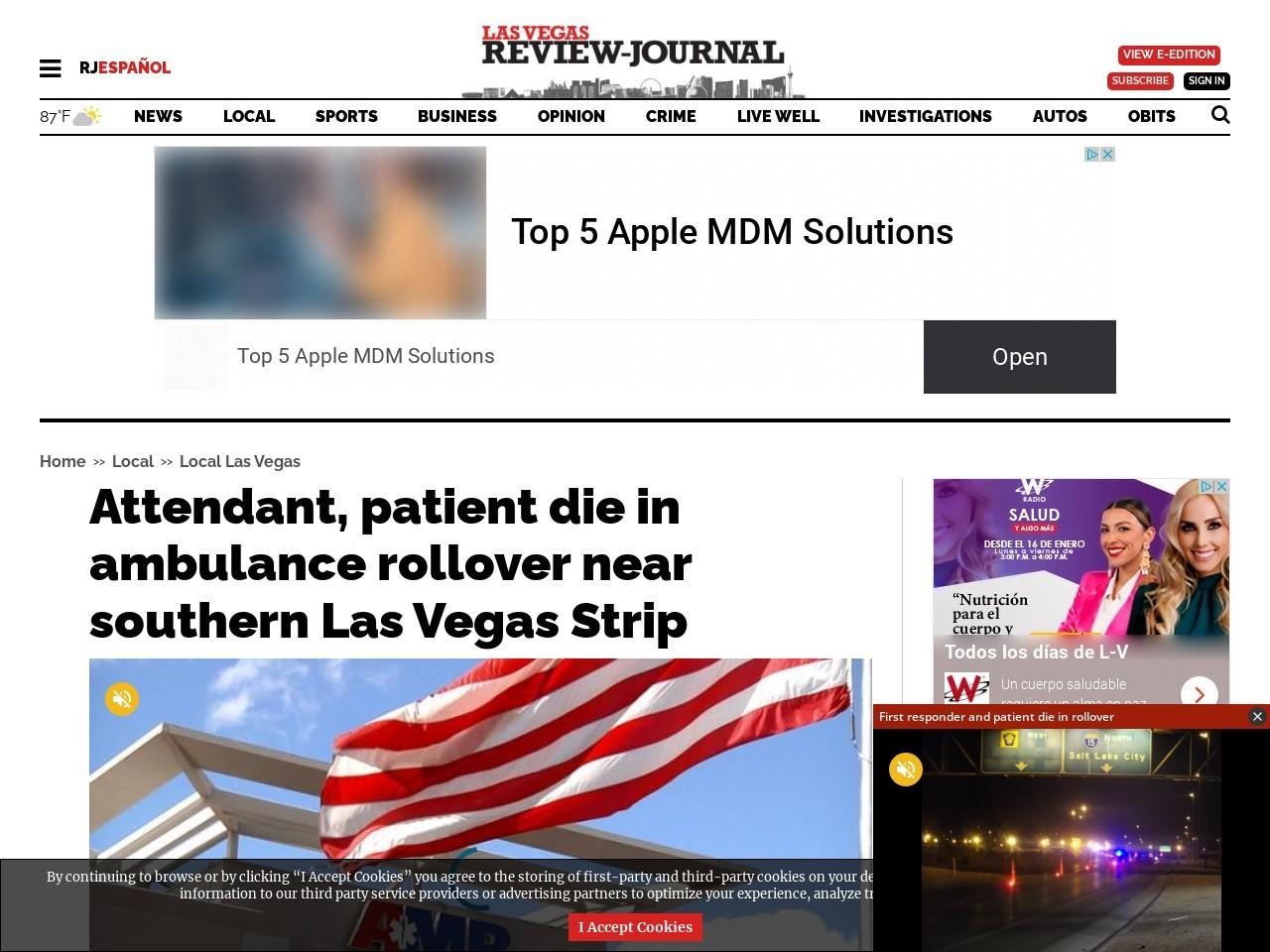 EMT, patient die in ambulance rollover near southern Las Vegas Strip