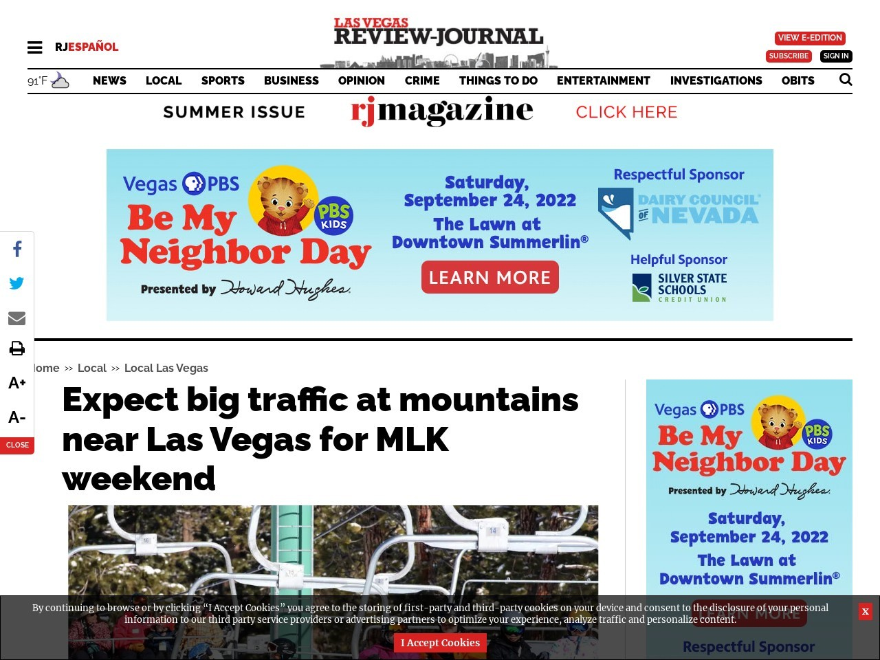 Expect big traffic at mountains near Las Vegas for MLK weekend