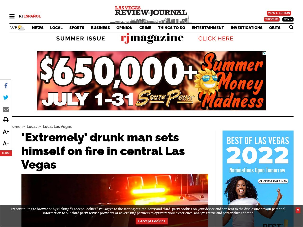 'Extremely' drunk man sets himself on fire in central Las Vegas