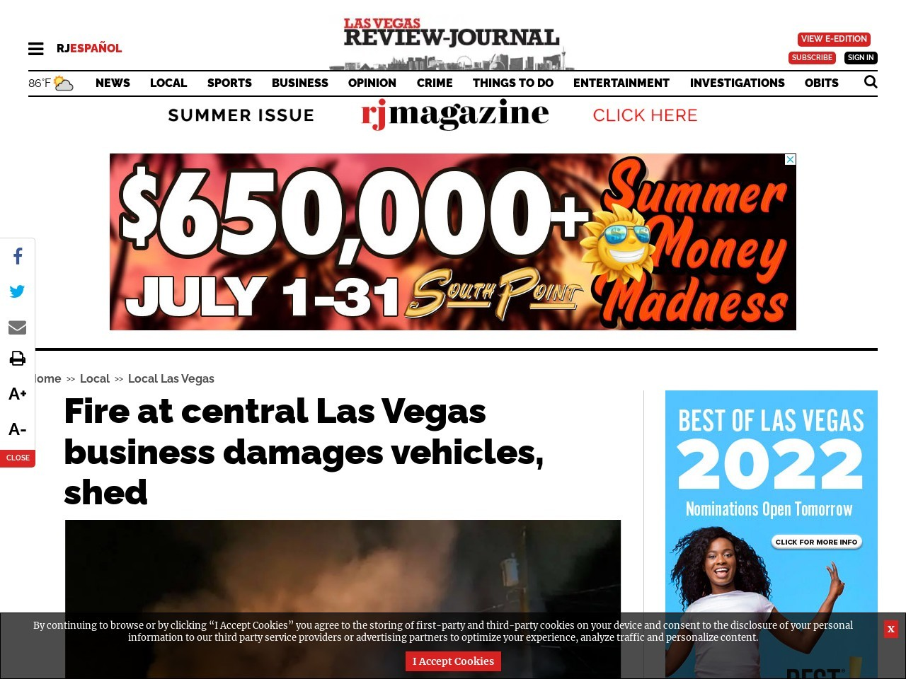 Fire at central Las Vegas business damages vehicles, shed