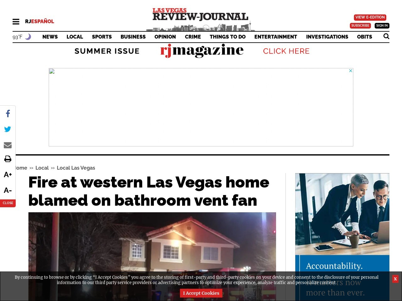 Fire at west Las Vegas home blamed on bathroom vent fan