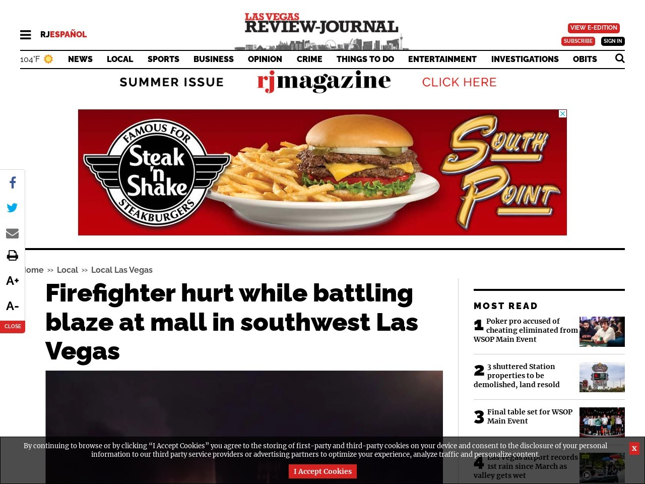 Fire crews battle blaze at southwest Las Vegas strip mall