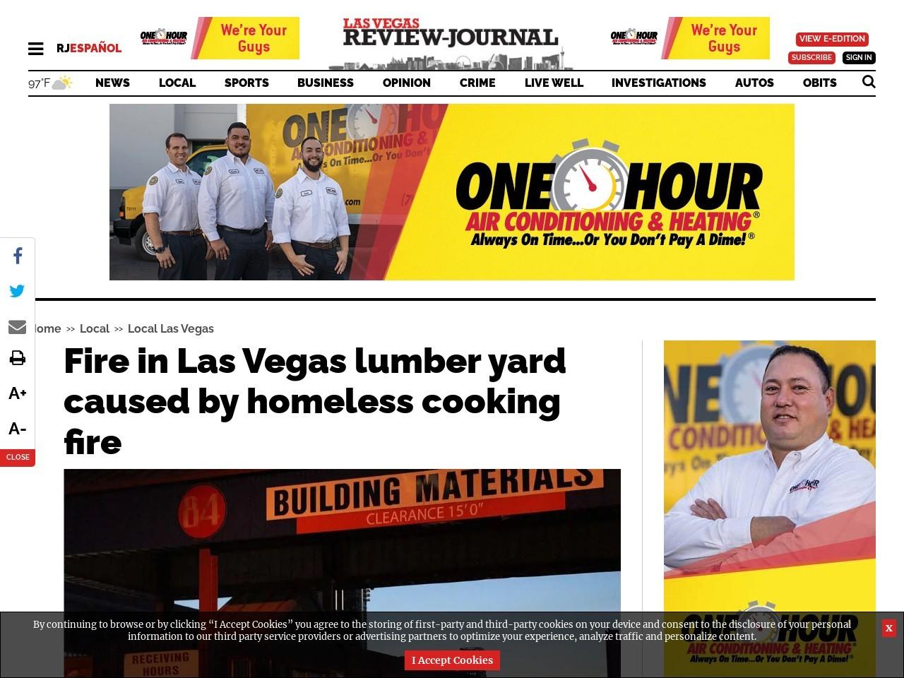 Firefighters battle blaze at central Las Vegas lumber yard