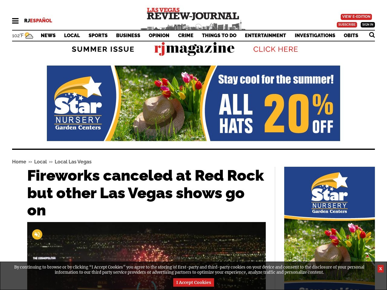 Fireworks canceled at Red Rock but other Las Vegas shows go on