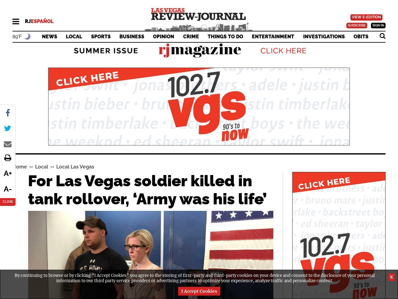 For Las Vegas soldier killed in tank rollover, 'Army was his life'