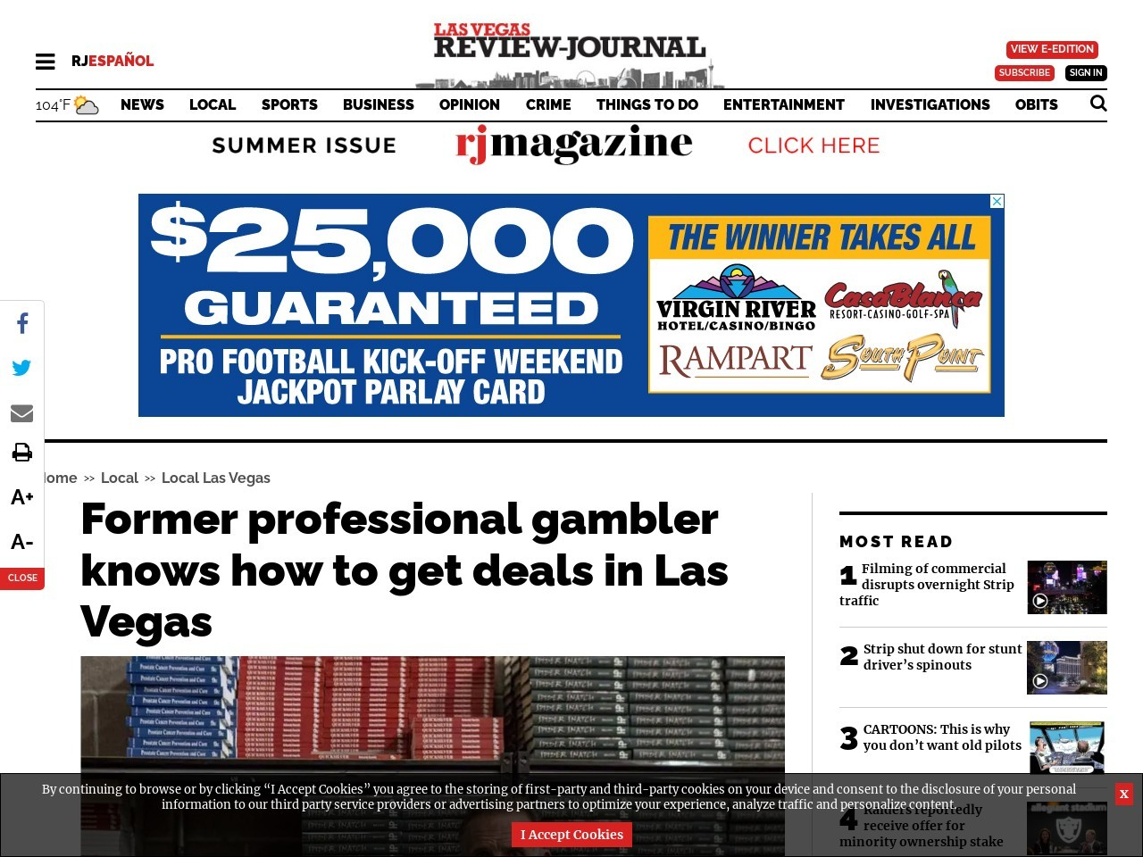 Former professional gambler knows how to get deals in Las Vegas