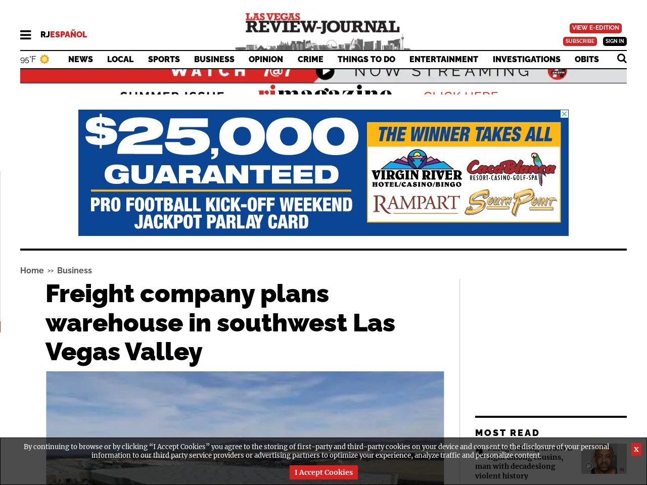 Freight company plans 70,ooo-square-foot warehouse in southwest Las Vegas Valley