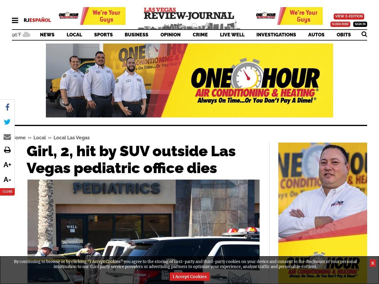 Girl, 2, hit by SUV outside Las Vegas pediatric office dies