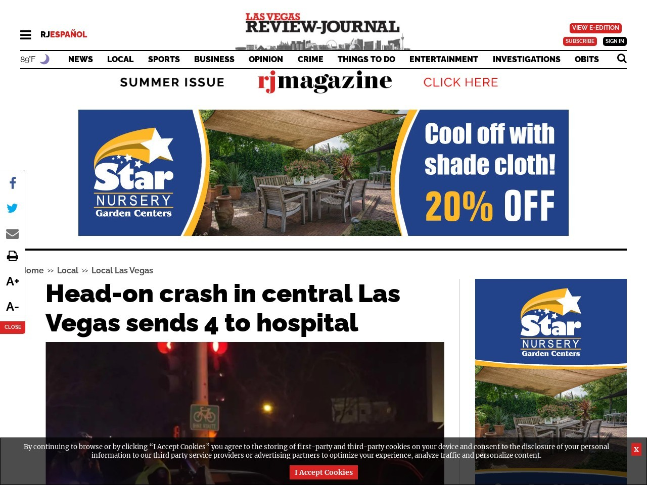 Head-on crash in central Las Vegas sends 4 to hospital