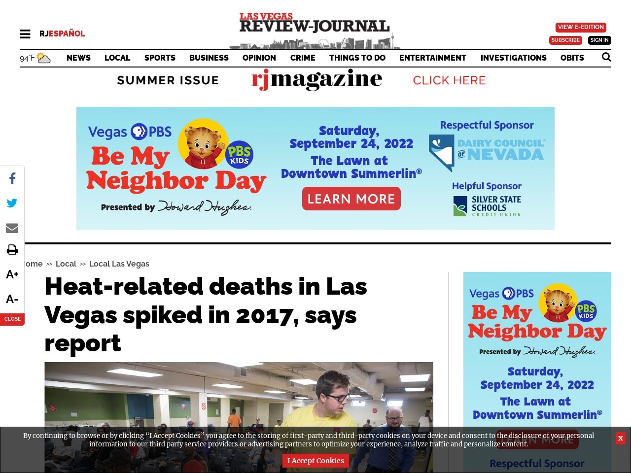 Heat-related deaths in Las Vegas spiked in 2017, says report