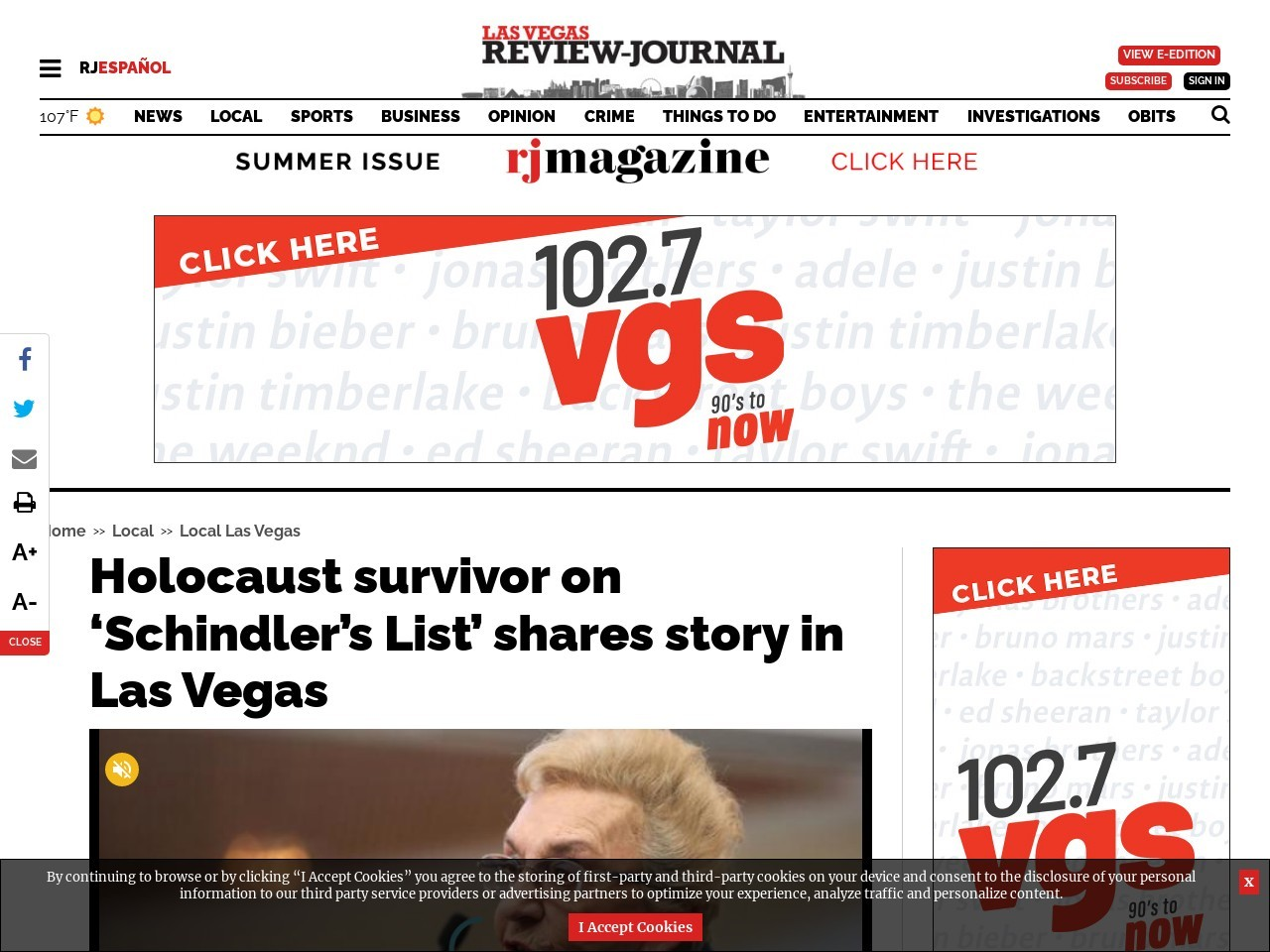 Holocaust survivor on 'Schindler's List' shares story in Las Vegas