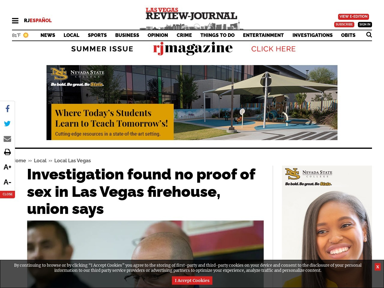 Investigation found no proof of sex in Las Vegas firehouse, union says