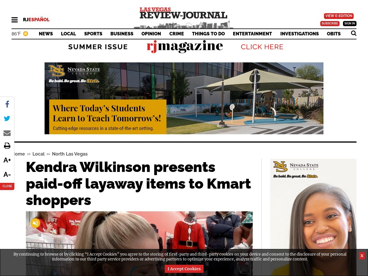 Kendra Wilkinson presents paid-off layaway items to Kmart shoppers