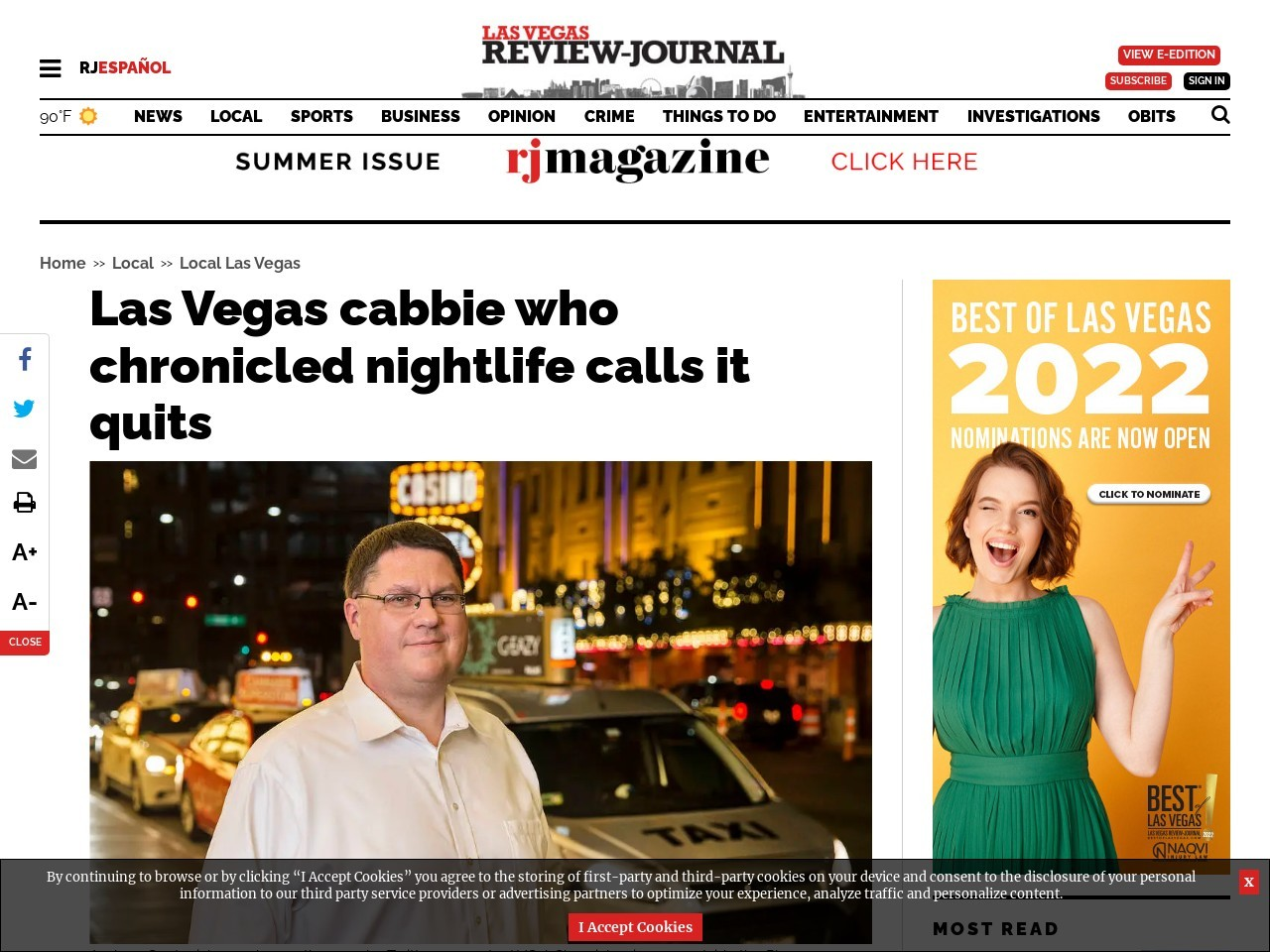 Las Vegas cabbie who chronicled nightlife calls it quits
