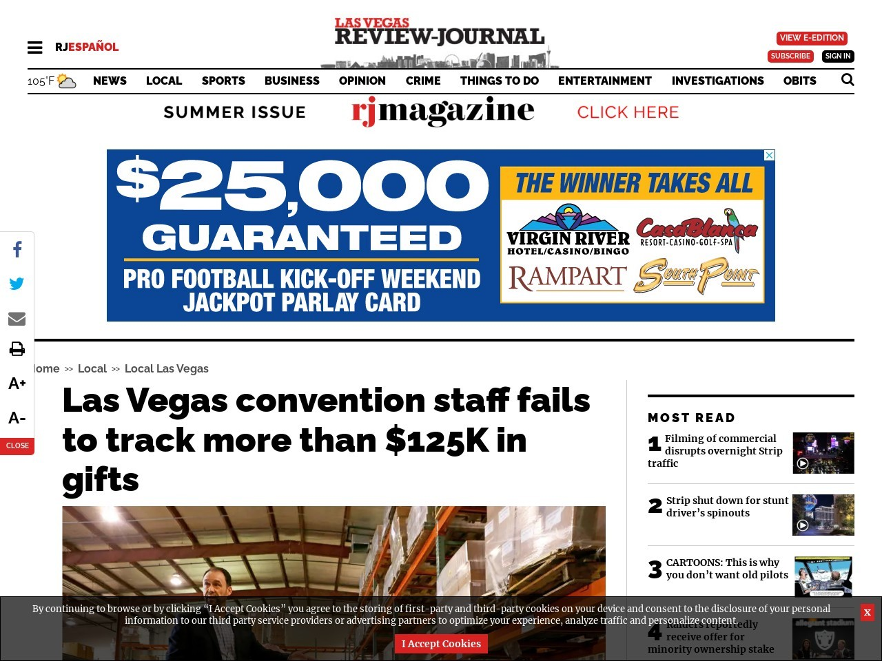 Las Vegas convention staff fails to track more than $125K in gifts