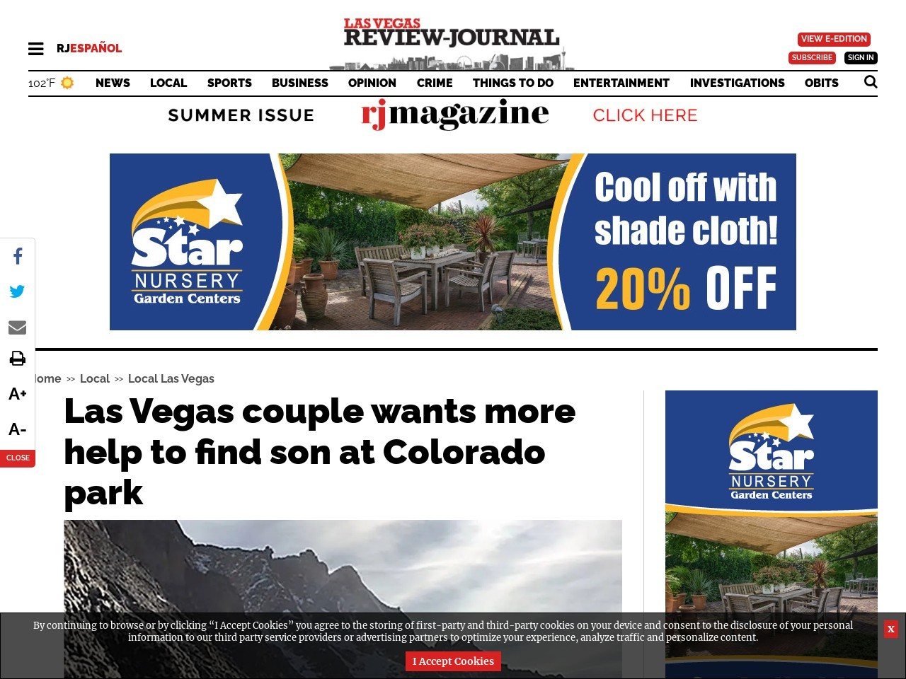 Las Vegas couple wants more help to find son at Colorado park