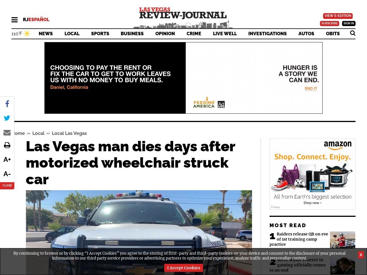 Las Vegas man dies days after motorized wheelchair struck car