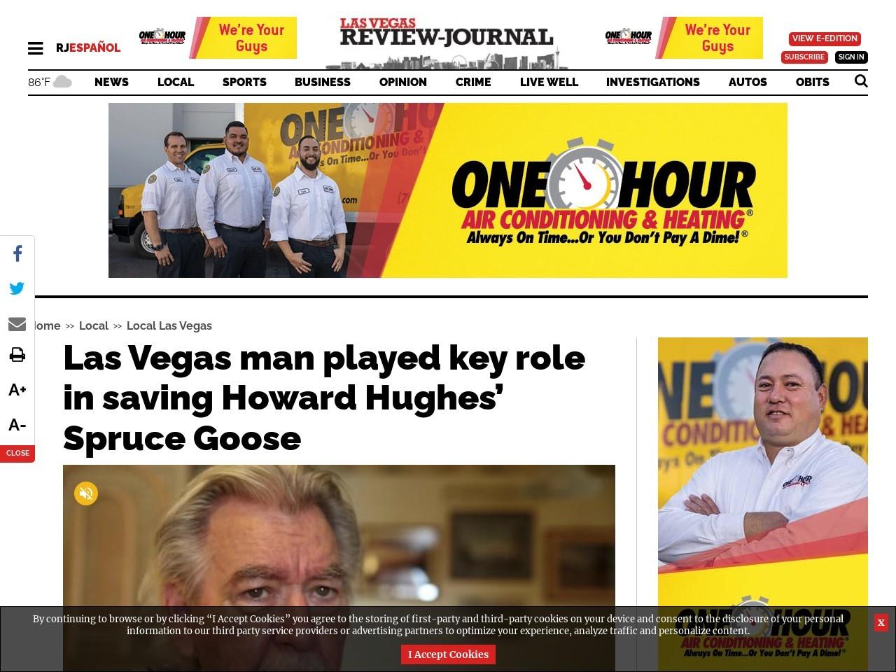 Las Vegas man played key role in saving Howard Hughes' Spruce Goose