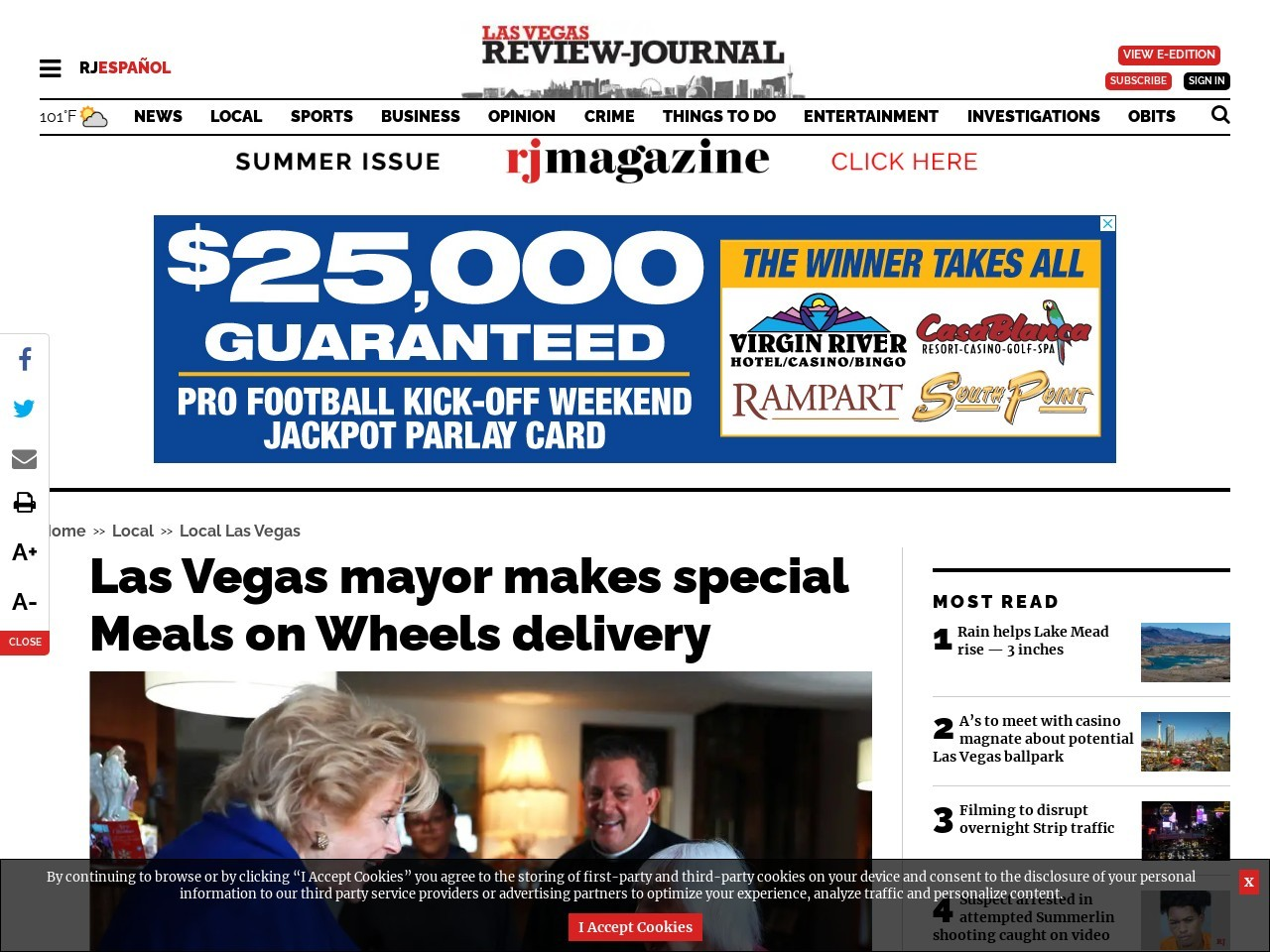 Las Vegas mayor makes special Meals on Wheels delivery