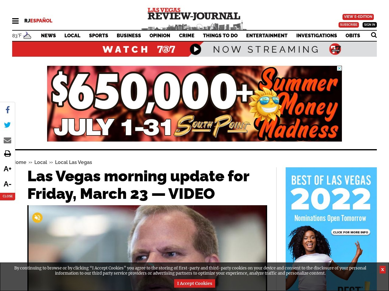 Las Vegas morning update for Friday, March 23 — VIDEO