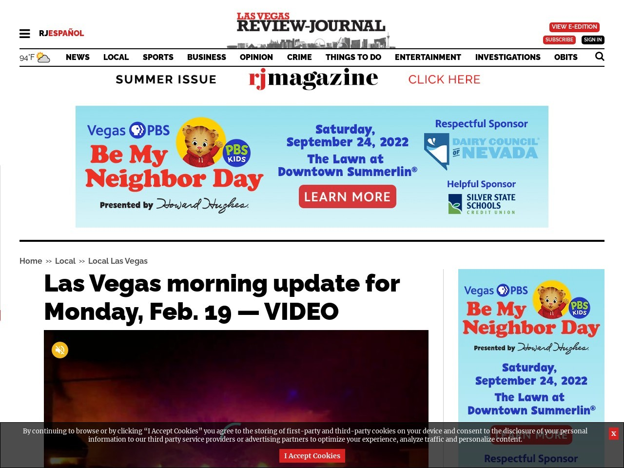 Las Vegas morning update for Monday, Feb. 19 — VIDEO