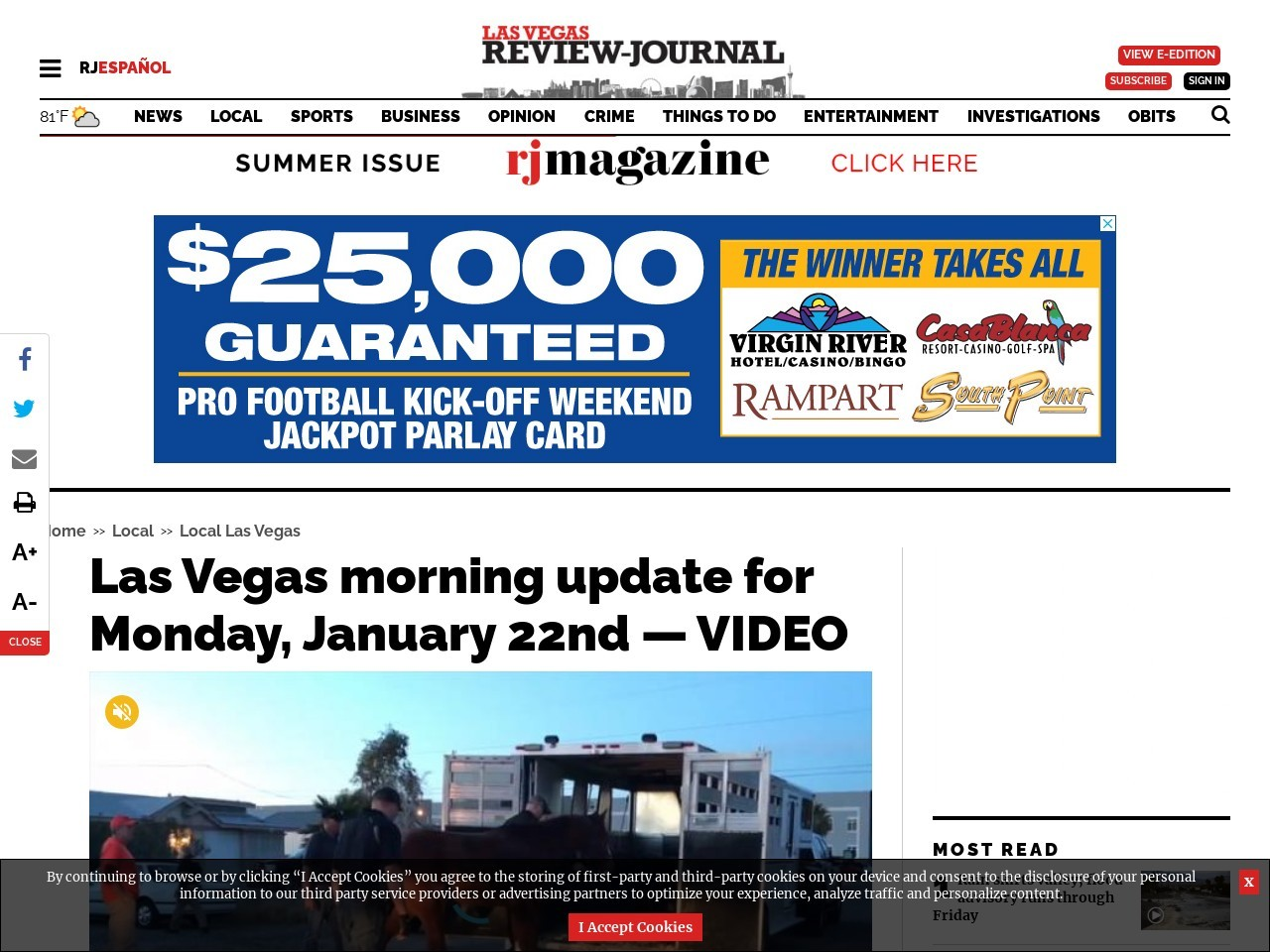 Las Vegas morning update for Monday, January 22nd — VIDEO