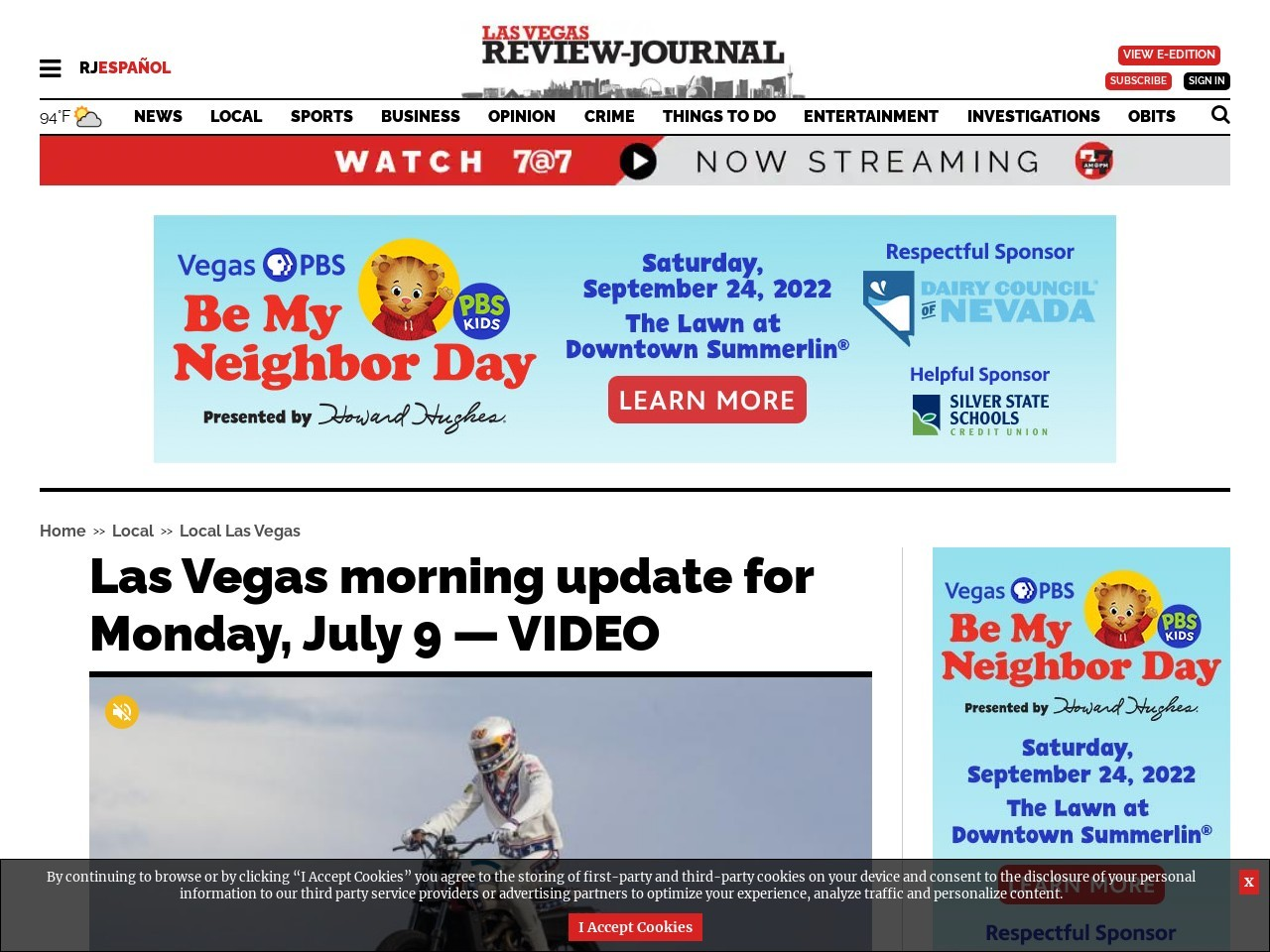 Las Vegas morning update for Monday, July 9 — VIDEO