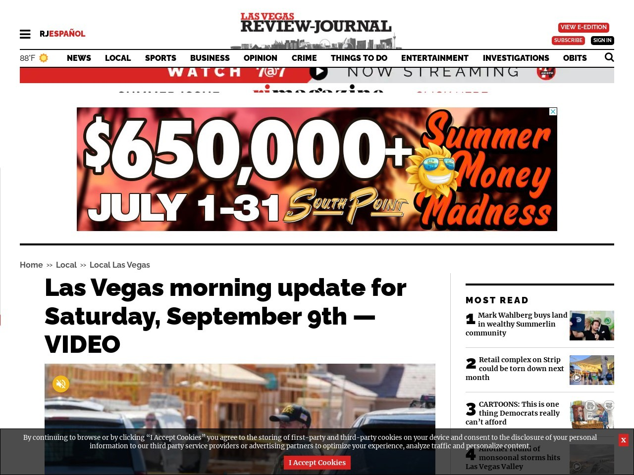 Las Vegas morning update for Saturday, September 9th — VIDEO