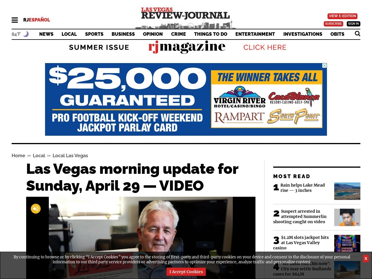 Las Vegas morning update for Sunday, April 29 — VIDEO