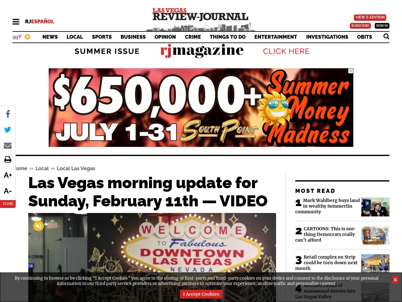 Las Vegas morning update for Sunday, February 11th — VIDEO