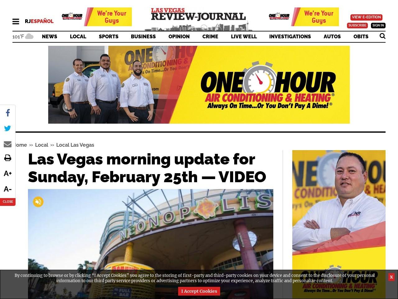Las Vegas morning update for Sunday, February 25th — VIDEO