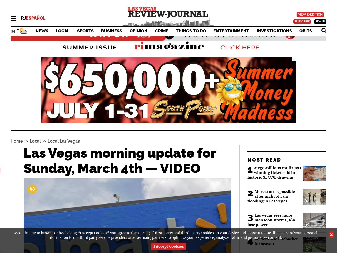 Las Vegas morning update for Sunday, March 4th — VIDEO