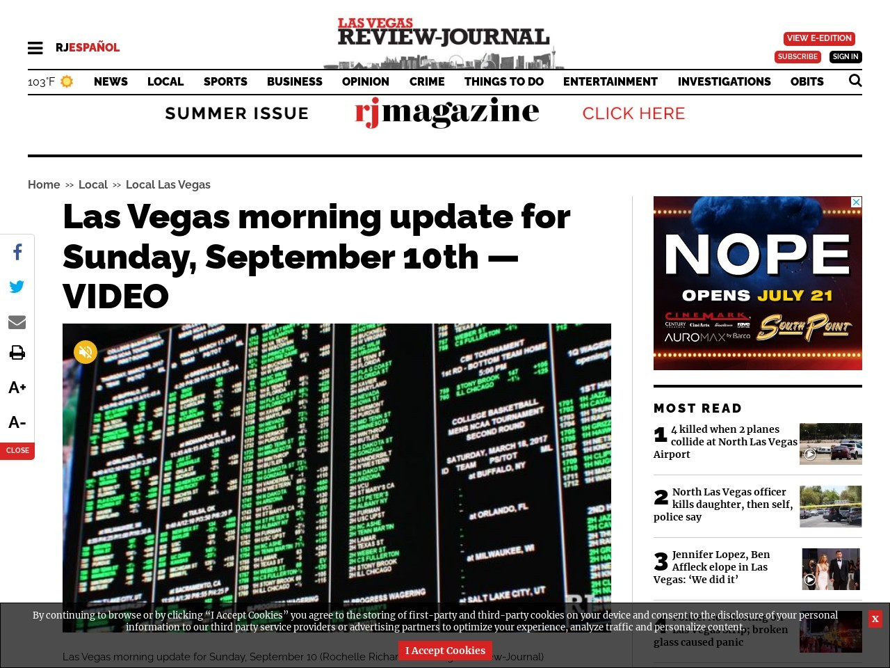 Las Vegas morning update for Sunday, September 10th — VIDEO