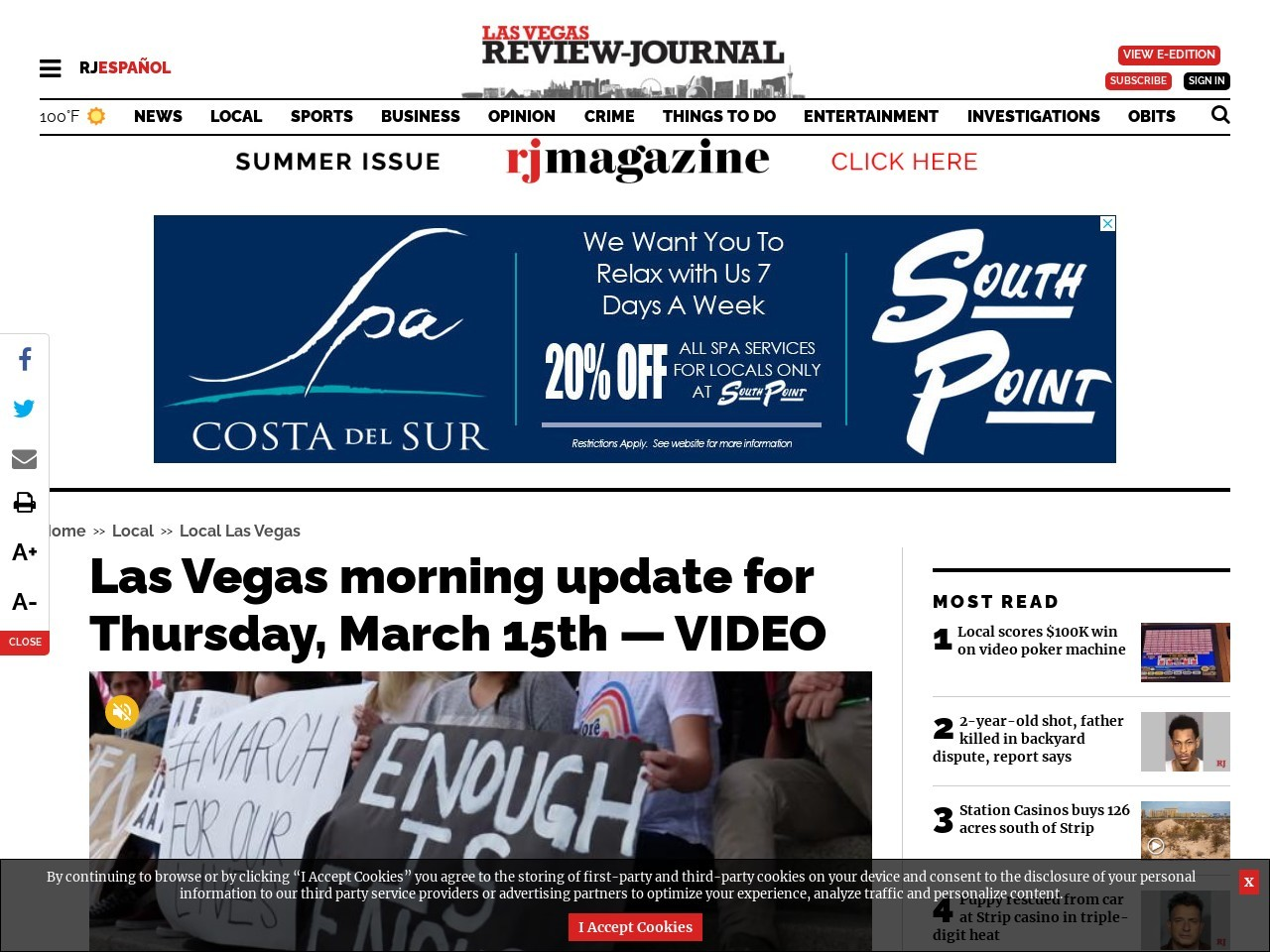 Las Vegas morning update for Thursday, March 15th — VIDEO