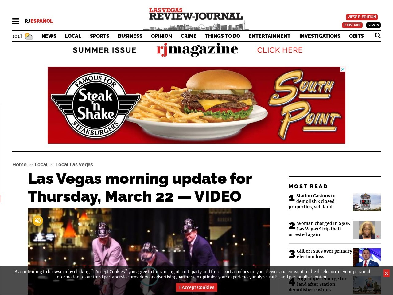 Las Vegas morning update for Thursday, March 22 — VIDEO