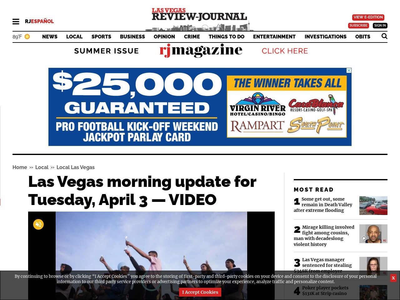 Las Vegas morning update for Tuesday, April 3 — VIDEO