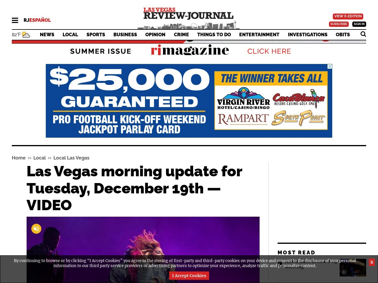 Las Vegas morning update for Tuesday, December 19th — VIDEO