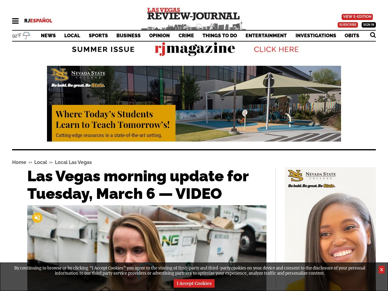 Las Vegas morning update for Tuesday, March 6 — VIDEO
