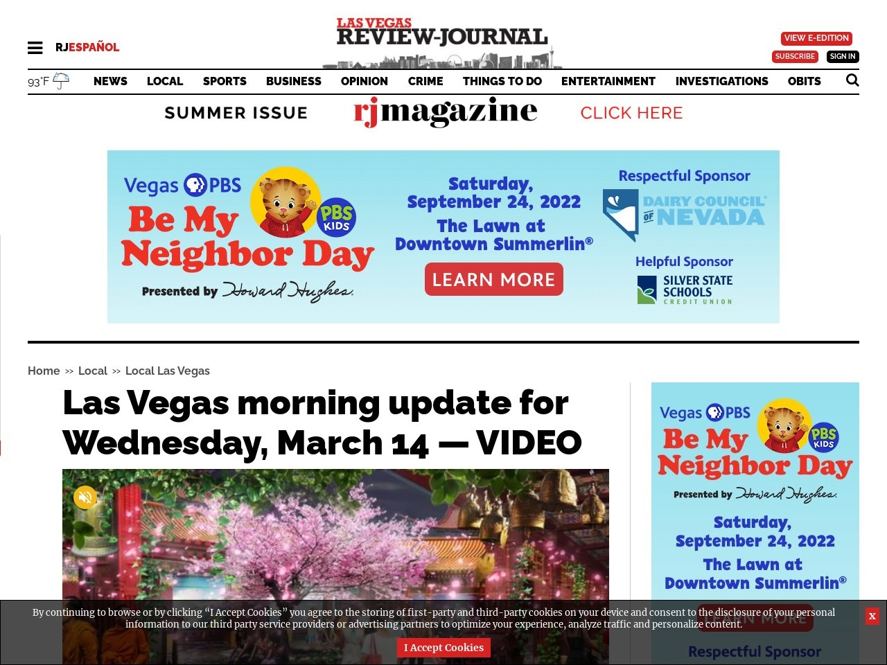 Las Vegas morning update for Wednesday, March 14 — VIDEO
