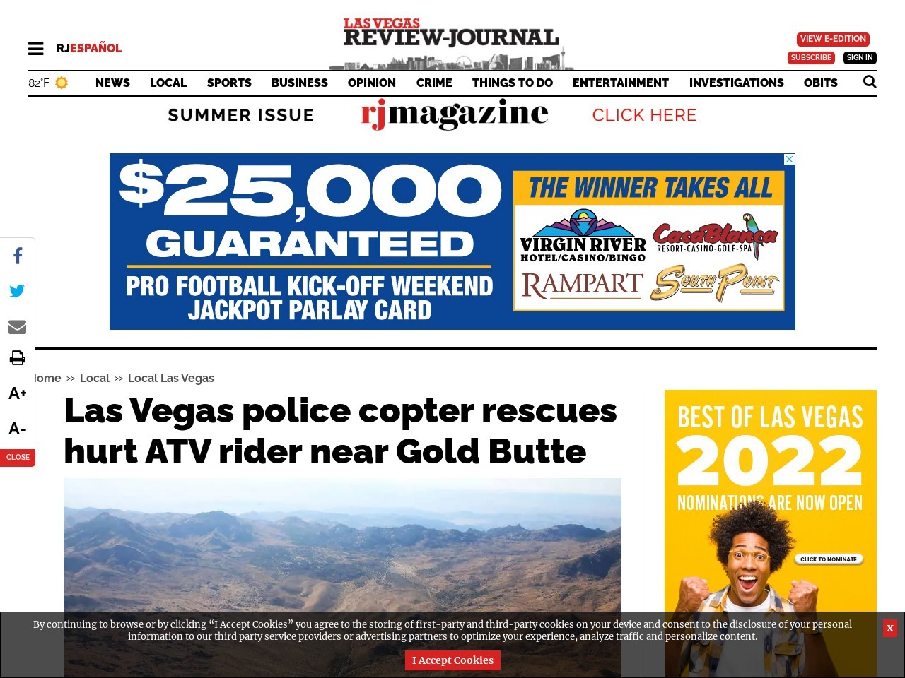 Las Vegas police copter rescues hurt ATV rider near Gold Butte