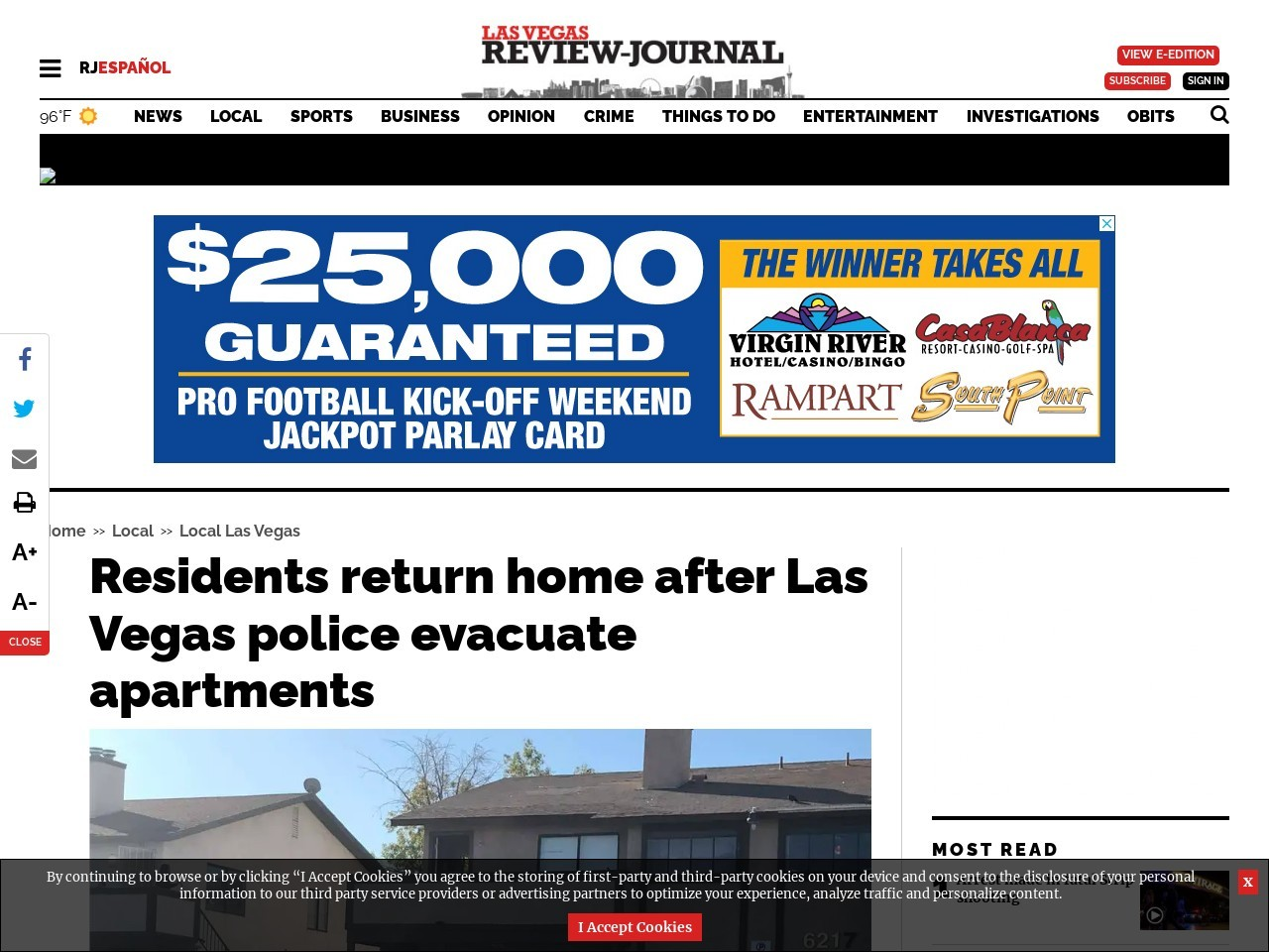 Las Vegas police evacuate apartments after report of man with gun