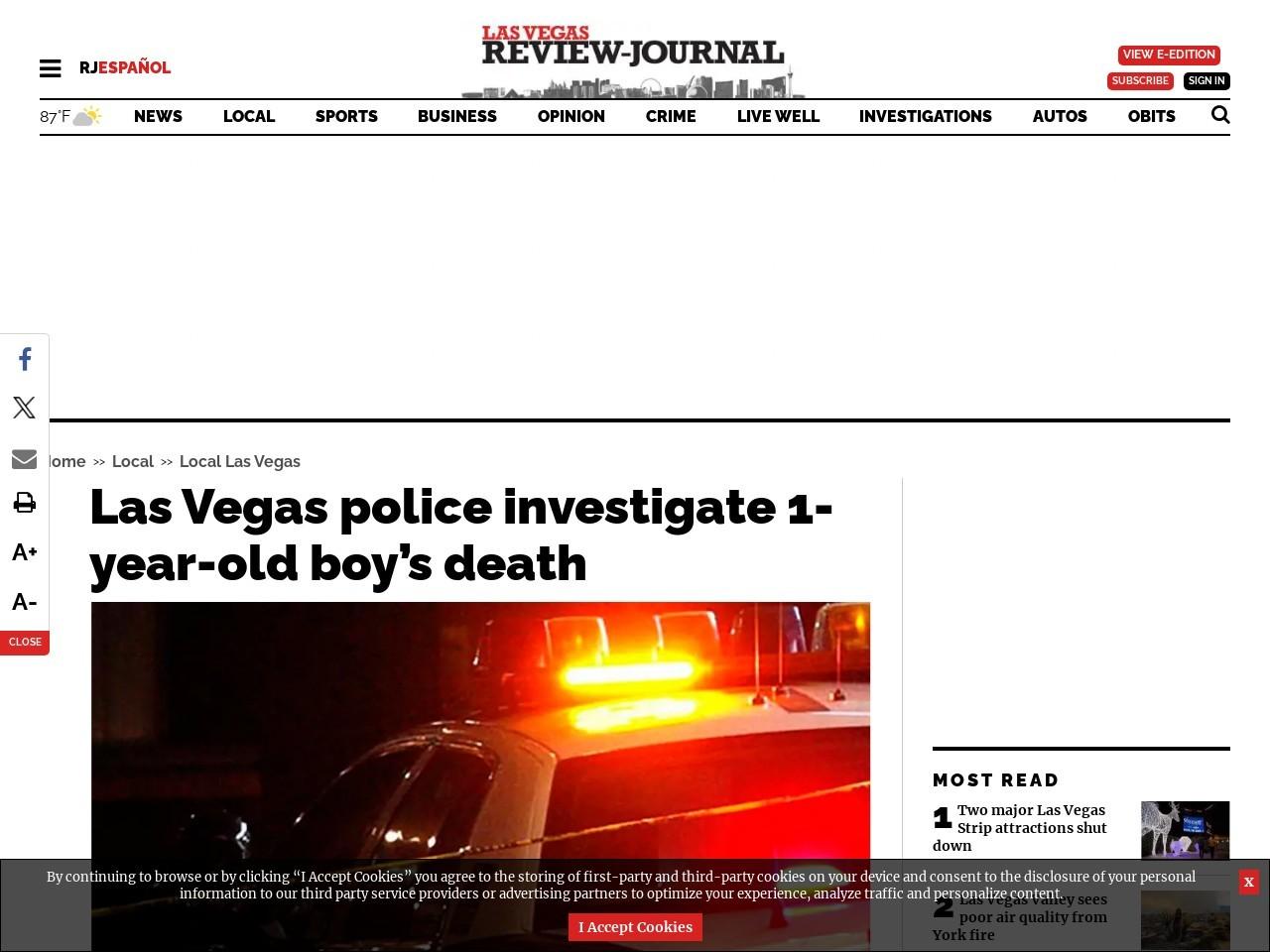 Las Vegas police investigate 1-year-old boy's death