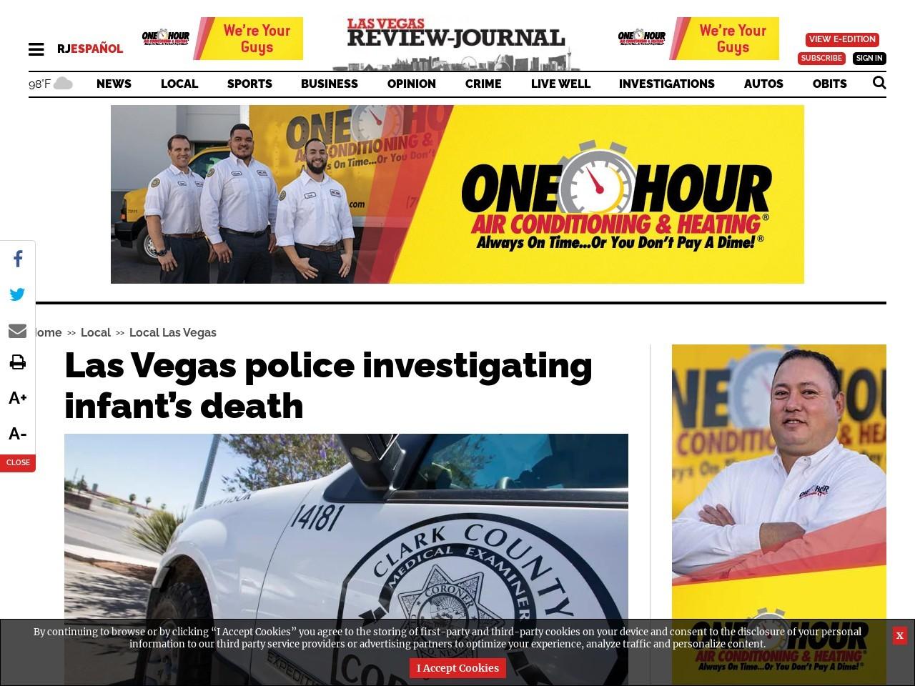 Las Vegas police investigating infant's death