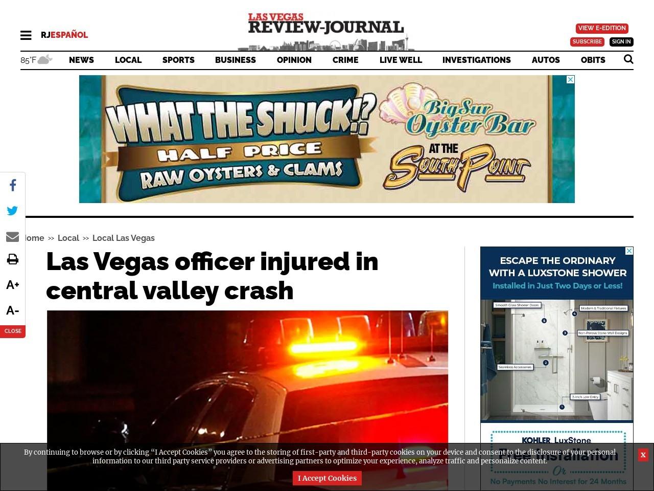 Las Vegas police officer injured in central valley crash