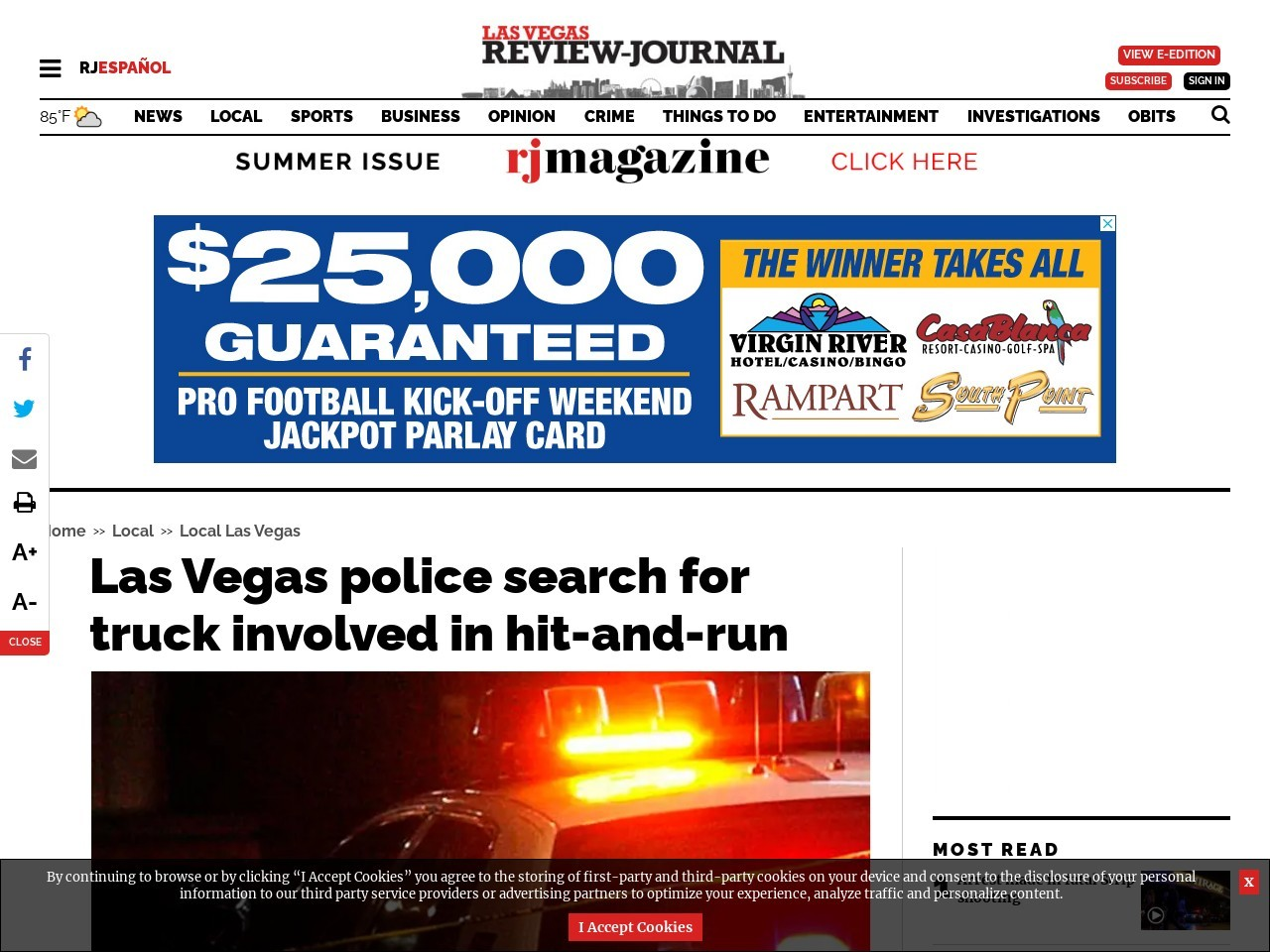 Las Vegas police search for truck involved in hit-and-run