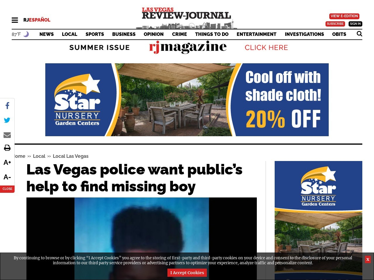 Las Vegas police want public's help to find missing boy
