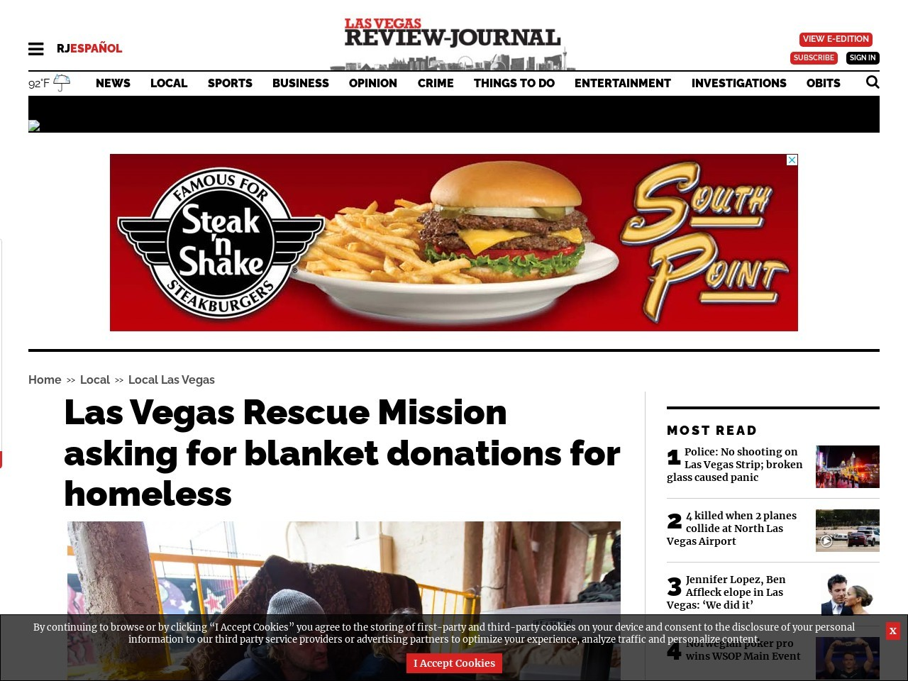 Las Vegas Rescue Mission asking for blanket donations for homeless